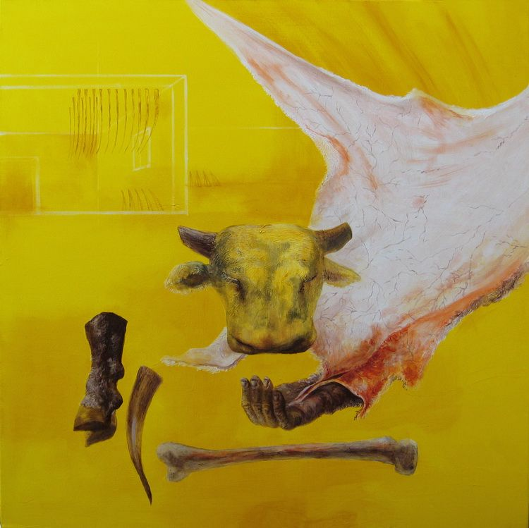 Alexandru Radvan - Pielea pamantului, acrilic pe panza, 100 x 100 cm, 2005