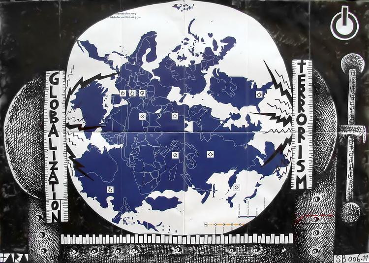 Tara - Globalization Terrorism, desen, 42 x 60 cm, 2007