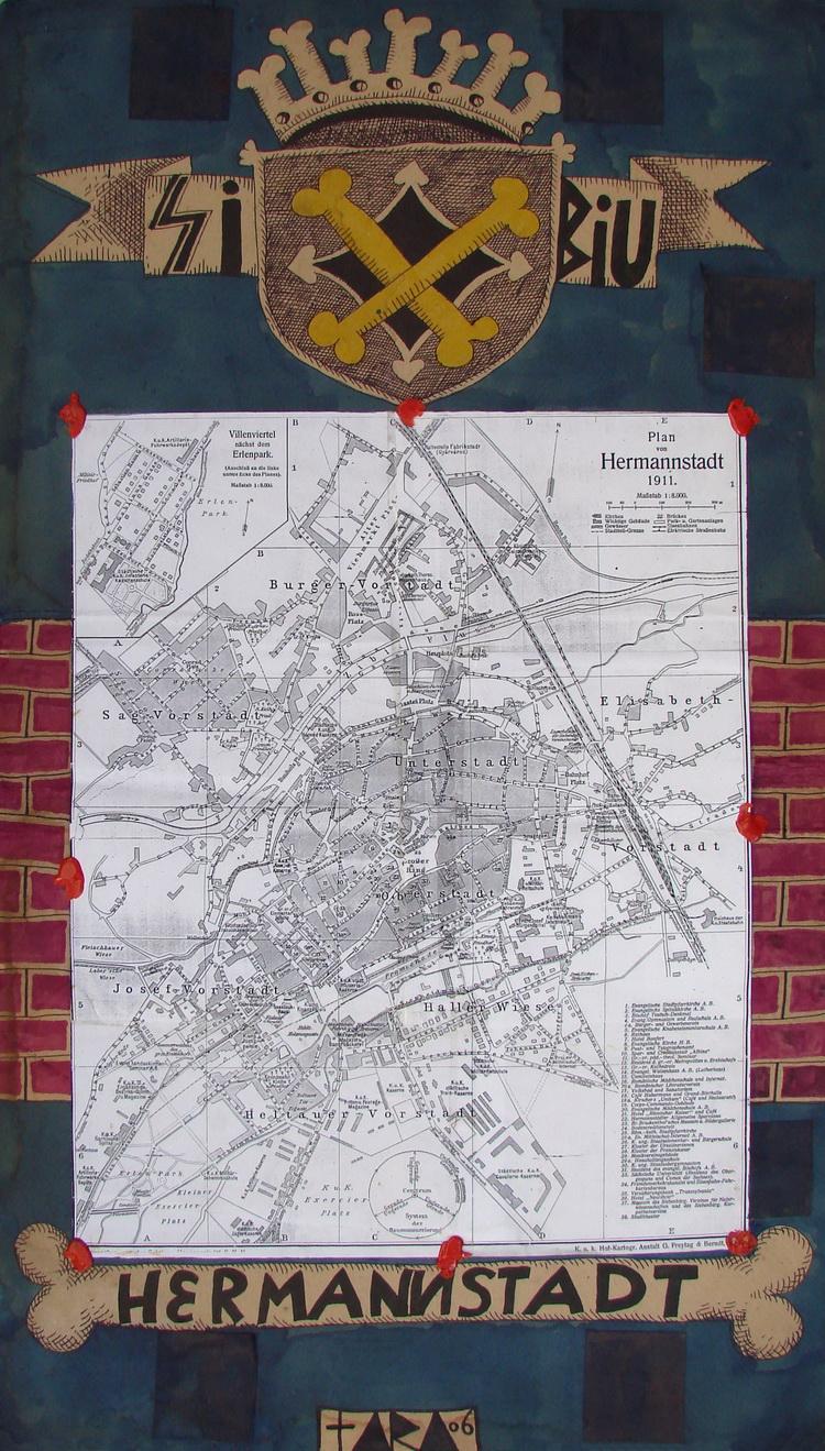 Tara - Harta administrativa a Capitalei Cenzurii, desen, 70 x 40 cm, 2007