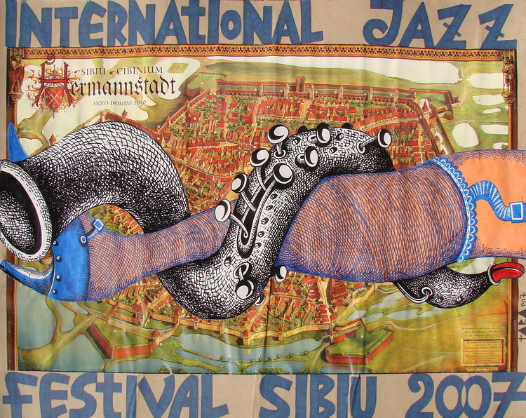 Tara - Poster International Jazz Festival Sibiu 2007 II, desen, 54 x 70 cm, 2007