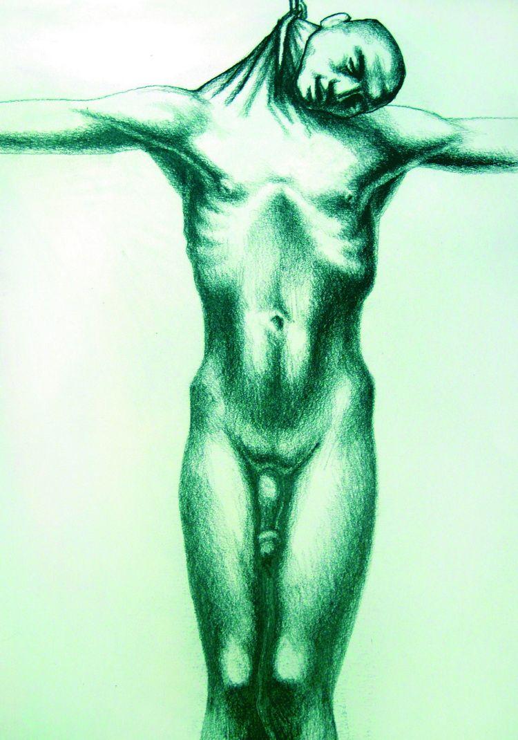 Alexandru Radvan, Huldigung des Judas XVIII, Kopierstift auf Papier, 29x21 cm, 2008