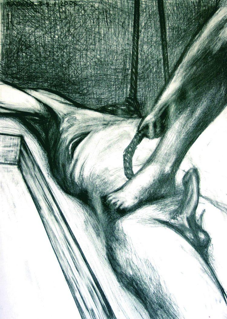 Alexandru Radvan, Huldigung des Judas XXIV, Kopierstift auf Papier, 42x29 cm, 2008