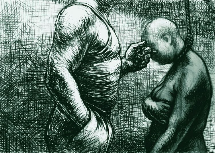 Alexandru Radvan, Kreuzfahrer 05, Kohle auf Papier, 72x101 cm, 2008