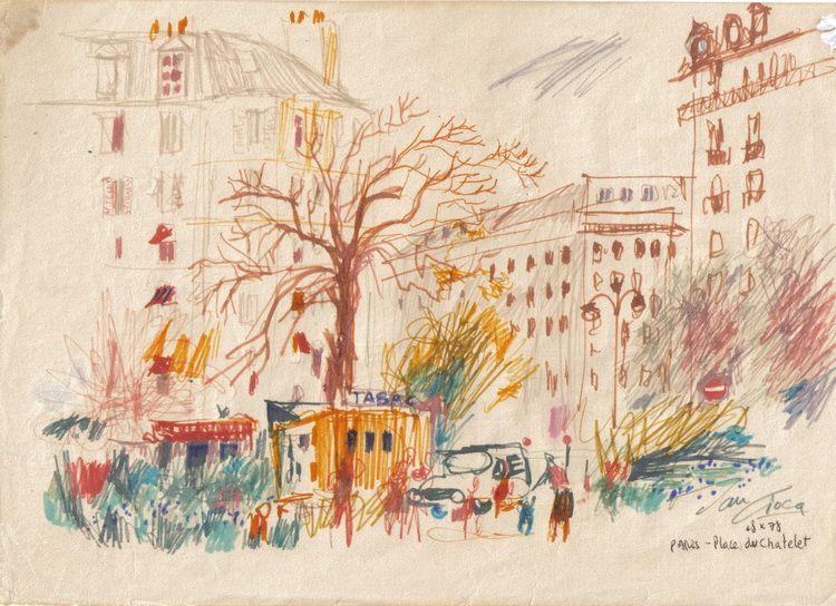 Paris - place du Chatelet, creion si pastel pe hartie, A4, 1978