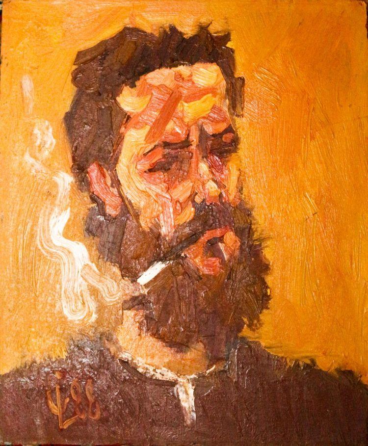 Liviu Cornescu-Autoportret-Doua fumuri
