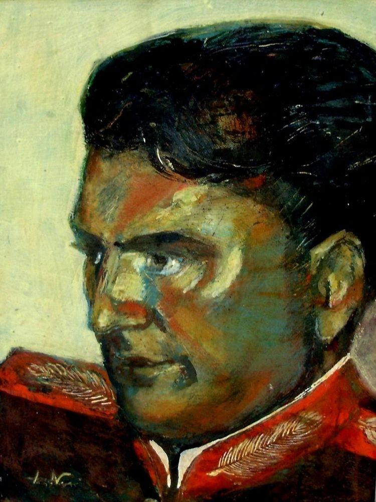Portret festiv, 35 x 30 cm, tempera pe carton