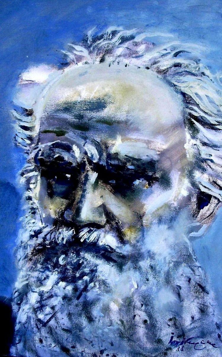 Portretul lui Tolstoi, 60 x 90 cm, tempera pe panza
