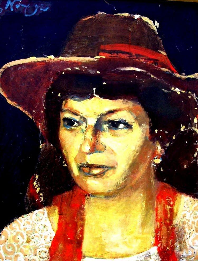Portretul unei doamne, 70 x 50 cm, tempera pe carton