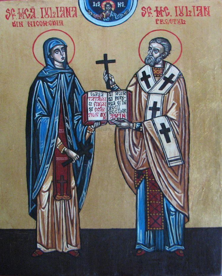 e)Sf.Mc. Iulian preotul si Sf.Mca. Iuliana din Nicomedia, 29x21 cm,t cu ou pe lemn,2013