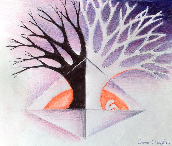 Arborele trecutului si al viitorului copac in alb si negru copacul timpului arborele sefora