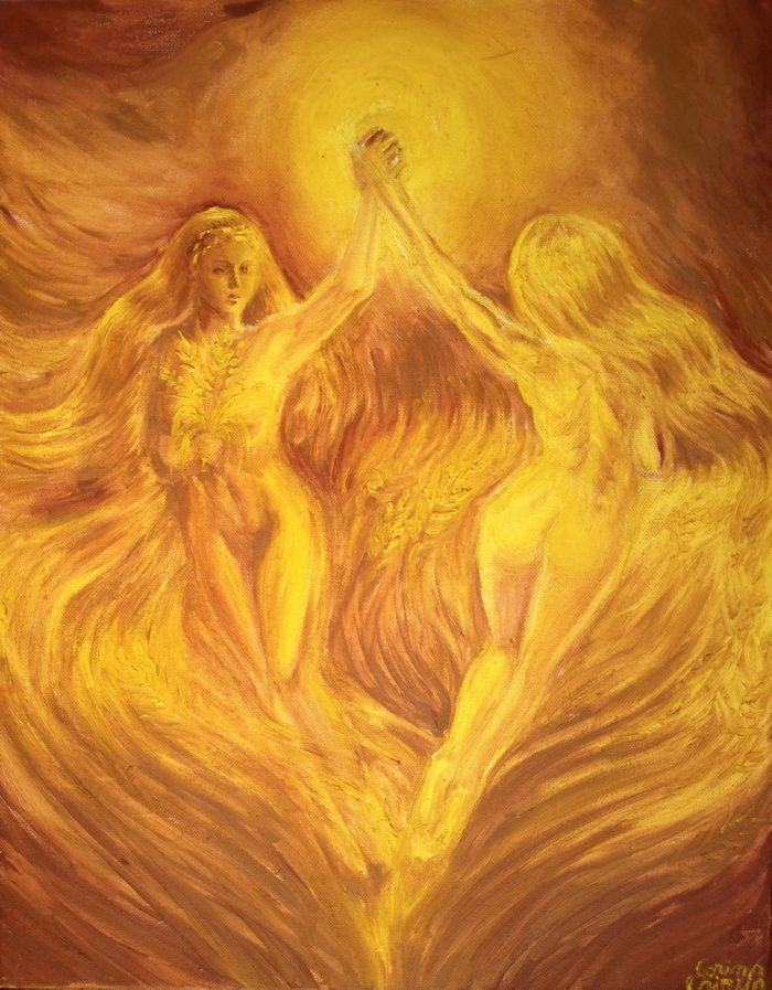 Dansul ielelor pe campuri aurii pictura ulei pe panza