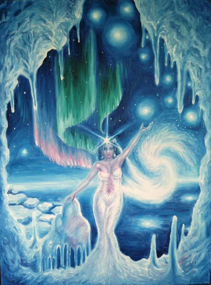 Iarna - Pictura ulei pe panza - Winter queen oil on canvas painting