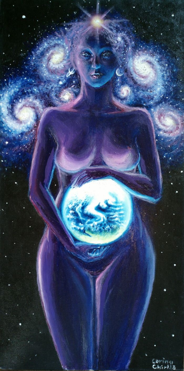 Mother Earth oil on canvas painting - Mama Terra Pictura ulei pe panza
