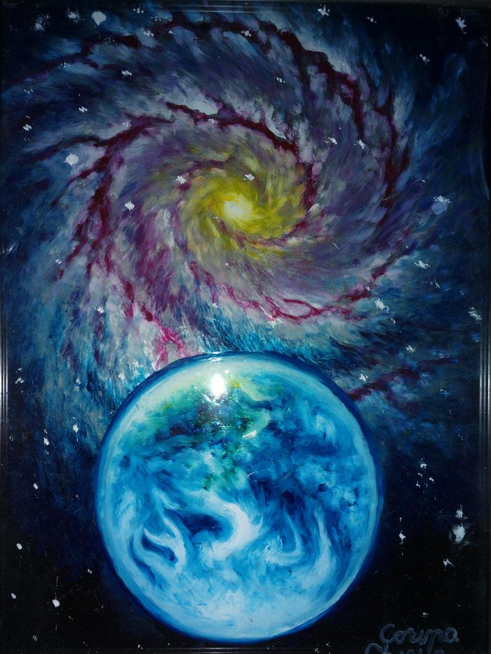 Pamantul si o galaxie peisaj spatial pictura pe sticla in ulei - Earth and a galaxy oil on glass space painting