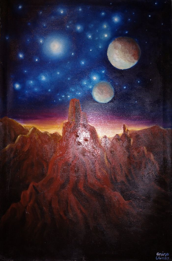 Un peisaj de pe alta planeta cu munti stancosi stele albastre si un apus sau rasarit de soare acolo - pictura ulei pe panza - Oil on canvas space painting with blue stars and sunrise