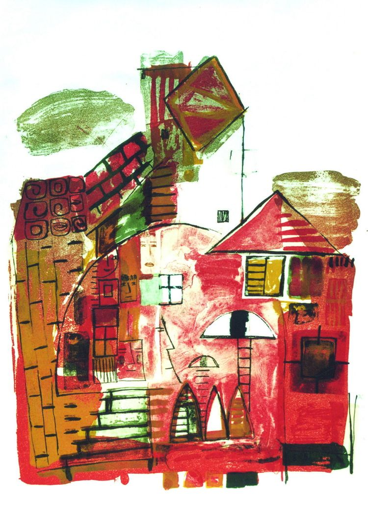 PINK TOWN lithograph, 52 x 40cm