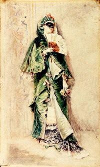 acuarela MNAR Dominoul verde, Theodor Aman