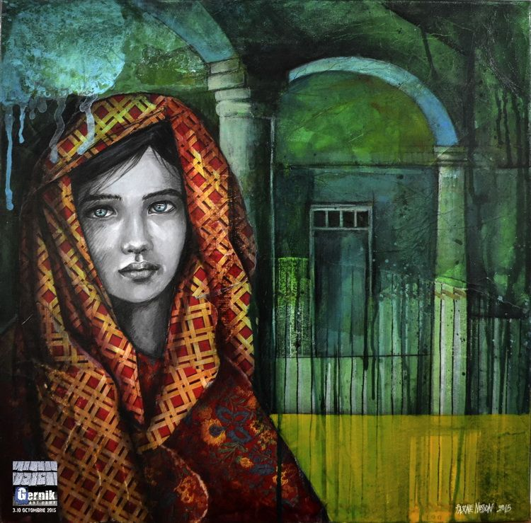 Pascale Nesson_Zanoubia Reine de Syrie_collage_canvas_60_60cm_Gernik 2015_resize