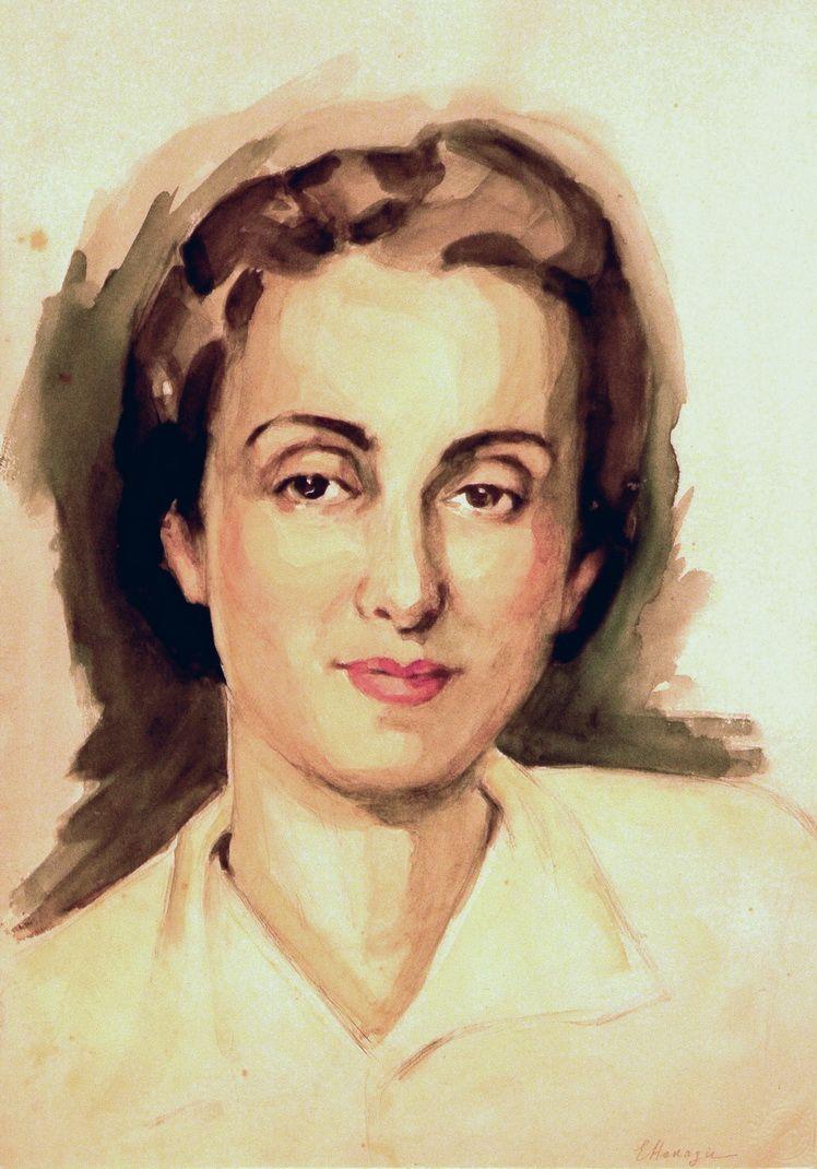 2. Elena Hanagic, Autoportret, acuarela