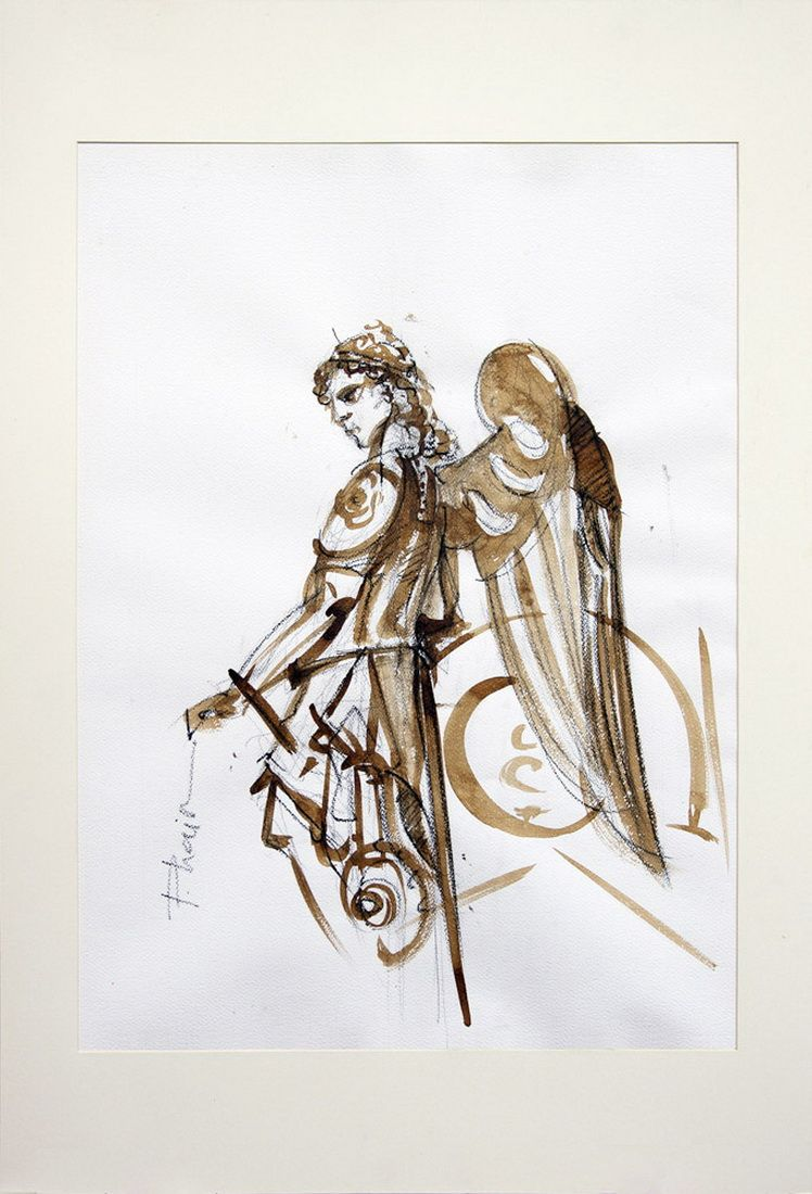 Warrior Angel_paula craioveanuu_ink and graphite and paper