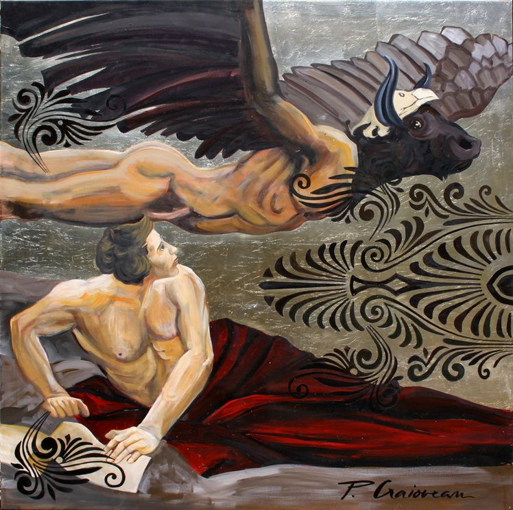 Zeus and Ganymede_Paula Craioveanu_oil and silverleaf on canvas