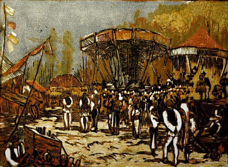 12. Mihail Gavrilov, Balci, linogravura in culori, 21,529,5 cm, 1956, Muzeul Brailei