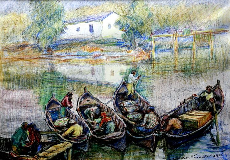 14. Mihail Gavrilov Brigada de pescari, pastel acuarelat, 4461 cm, 1961, Muzeul Brailei