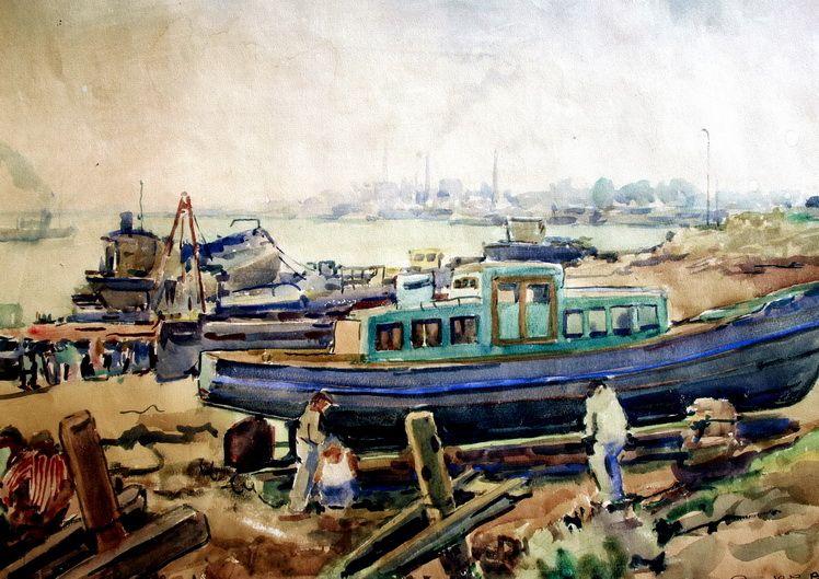 16. Mihail Gavrilov, In port, acuarela, 3858 cm, 1956, col. Gh. Gavrilov