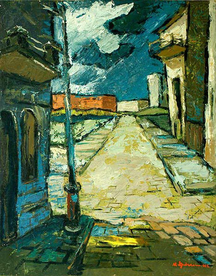 18. Nicolae Spirescu, Strada spre port, ulei pe PFL, 76x60 cm