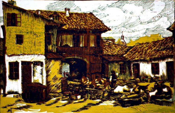 4. Mihail Gavrilov, Hanul Ceaparu (unde a locuit Hristo Botev), linogravura color, 2844 cm, 1956, Mzeul de Arta Vizuala Galati