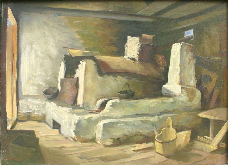 6. Gheorghe Levcovici - Vatra din Tarcau. u.,42x60 cm